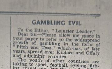 From the Leinster Leader archives: The evil of 'pitch and toss' gambling