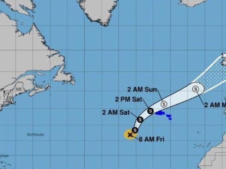 Weakening Tropical Storm Isaac moving across eastern Caribbean
