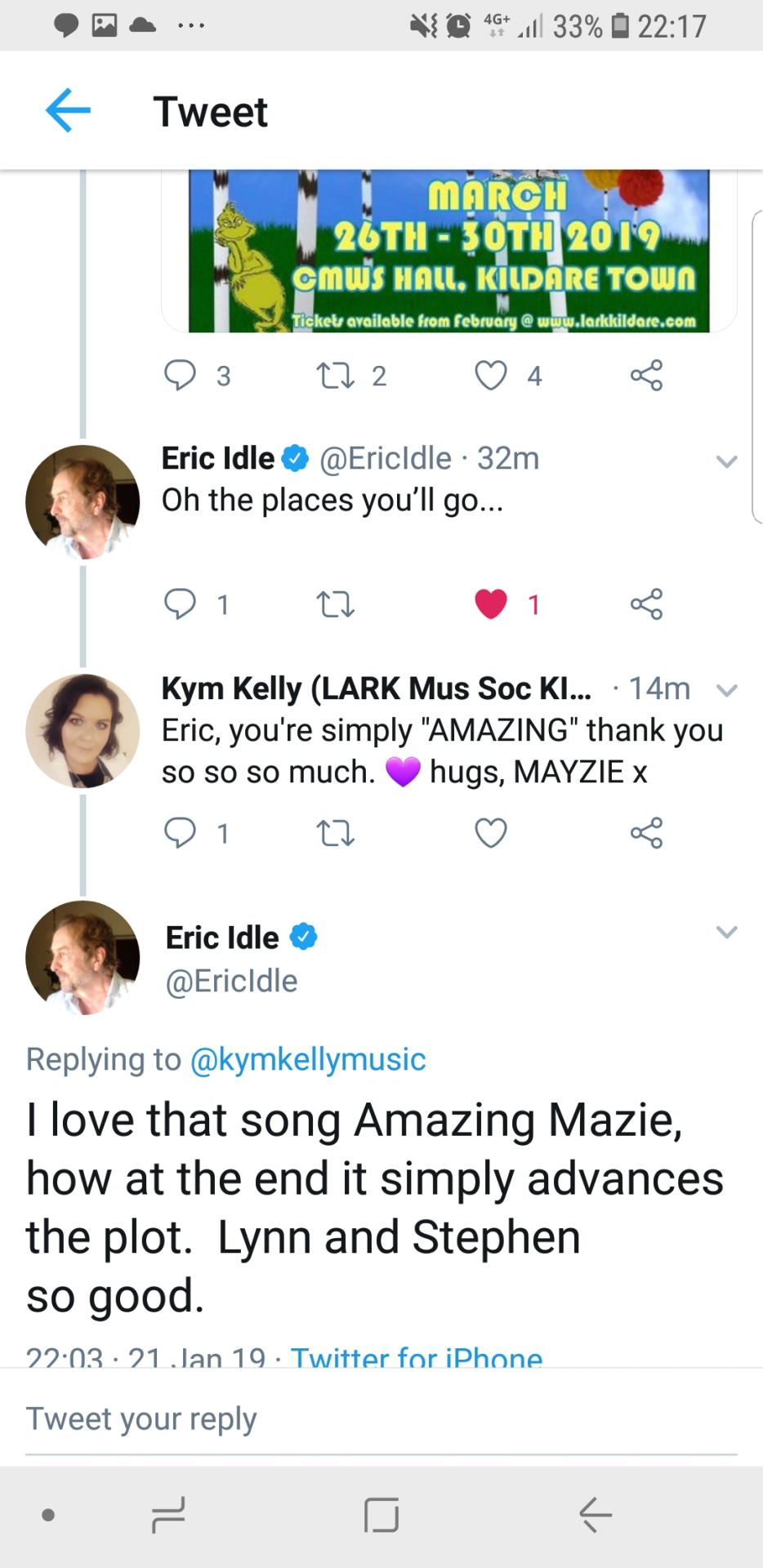 The good luck tweet from Monty Python's Eric Idle